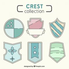Set of hand drawn decorative crests Free Vector
