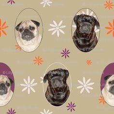 pug fabric Pugs n Flowers