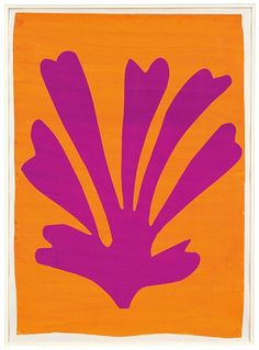 Henri Matisse Palmette (Feuille violet sur fond orange), Gouache on paper, cut and pasted. 28 x © 2014 Succession H. Matisse, Paris / Artists Rights Society (ARS), New York. Henri Matisse, Matisse Kunst, Matisse Art, Matisse Tattoo, Picasso Tattoo, Matisse Prints, Matisse Drawing, Matisse Cutouts, Cut Out Art