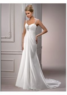 Wedding dress online shop - Chiffon Sweetheart Neckline with Spaghetti Straps Beaded Embellishment Rouched Bust Empire Style with Chapel Train 2012 Wedding Dress WM-0470