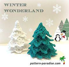 Winter Wonderland Trees free crochet pattern - Free Crochet Christmas Tree Patterns - The Lavender Chair