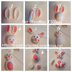 Tuto lapin de pâques en pate a sucre - Les recettes d'Alicia - You are in the right place about diy clothes Here we offer you the most beautiful pictures about t - Fondant Animals, Clay Animals, Fondant Toppers, Fondant Cakes, Sugar Paste, Gum Paste, Modeling Chocolate, Hot Chocolate, Decors Pate A Sucre