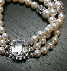 Bridal Bracelet with Swarovski Pearls and vintage style rhinestone clasp by One World Designs Bridal Jewelry