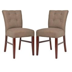 @Overstock - Add a little chic to any room with these contemporary side chairs. This furniture set features a sturdy curved back hardwood frame with a tufted button olive linen upholstery.http://www.overstock.com/Home-Garden/Metro-Curved-Tufted-Olive-Linen-Side-Chairs-Set-of-2/5721333/product.html?CID=214117 $264.99
