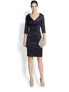 Kay Unger - Stretch Satin Shawl Collar Dress