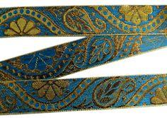 "1"" WIDE NEW INDIAN JACQUARD BRONZE RIBBON TRIM BLUE PAISLEYS DESIGN BORDER 9 YRD #handmade"