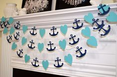 Nautical garland, turquoise and navy anchor heart garland, wedding decorations, baby shower decor, bridal shower garland, party decorations