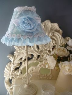 LAMPSHADE  Pale Powder Blue Shabby Chic & by HomeChiqueHome, $37.00