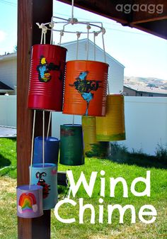 summer wind chime-- I would paint them spring colors and add flowers inside hang with rope.... :-)