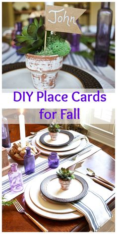 DIY Place Cards for Fall - Easy and inexpensive to make. Perfect for Fall and Thanksgiving place settings. Succulents and clay pots.2 Bees in a Pod