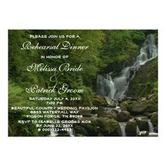 Shop Country Nature Waterfall Wedding Rehearsal Dinner Invitation created by nationalpark_t_shirt. Personalize it with photos & text or purchase as is! Wedding Anniversary Invitations, Spring Wedding Invitations, Rehearsal Dinner Invitations, Wedding Rehearsal, Wedding Rsvp, Wedding Save The Dates, Rehearsal Dinners, Rustic Wedding, Card Wedding
