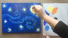 How to paint easy Van Gogh Starry Night – Malerei Cute Canvas Paintings, Canvas Painting Tutorials, Small Canvas Art, Mini Canvas Art, Van Gogh Paintings, Acrylic Painting Canvas, Painting Techniques, Van Gogh Drawings, Small Paintings