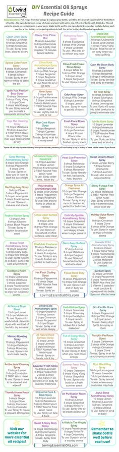 Essential Oil Sprays Recipe Guide. http://www.lovingessentialoils.com/blogs/diy-recipes/homemade-essential-oil-sprays-made-easy Whether you are a DIYer or not, making essential oils sprays is super simple. You only need a few items and the process takes a few minutes.