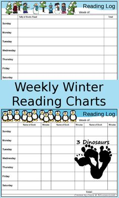 Winter is fully here and it is time for some fun winter reading charts. These are to be added to our Fall and Summer weekly charts. Reading is a huge part of our kids education. Weekly Reading Logs, Guided Reading, Reading Lessons, Winter Activities For Kids, Pre K Activities, Reading Log Printable, Free Homeschool Curriculum, Reading Anchor Charts, Independent Reading