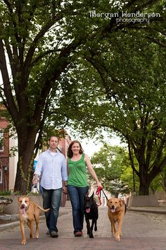 dogs in engagement photographs downtown durham