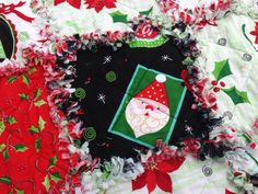 Peppermint Twist Christmas rag quilt by BlueSheepBoutique on Etsy