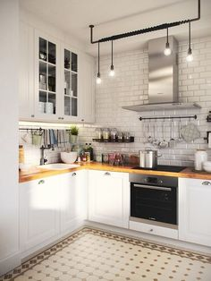 There is no question that designing a new kitchen layout for a large kitchen is much easier than for a small kitchen. A large kitchen provides a designer with adequate space to incorporate many convenient kitchen accessories such as wall ovens, raised. Home Decor Kitchen, Interior Design Kitchen, New Kitchen, Home Kitchens, Kitchen White, Kitchen Ideas, Kitchen Small, Small Kitchens, Kitchen Cook