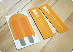 Unique business card - Popsicle that you tear in half to give to your friend! Genius.