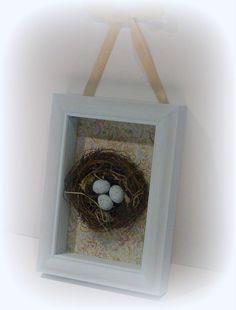 Shabby Chic, Shabby Chic Shadow Box, Robin Nest and Eggs, Shadow Box, Bird Nest Box