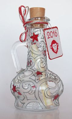 Christmas & New Year Holidays gift — Hand painted bottle — Message in a bottle