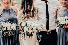 Whistler Elopement // Kristen & Grant via Rocky Mountain Bride // Boho wedding style // grey bridesmaid dresses // white bouquets // peonies, ranunculus, anemones, veronica, lisianthus, greenery // @ruedeseinebride @celsiafloral J + L Photo