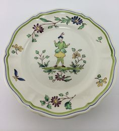 """SOLD   Vintage Longchamp """"Moustiers"""" Dessert Plates   set of 4   creamy earthenware plates, faience design with man and floral rim   Made in France"""