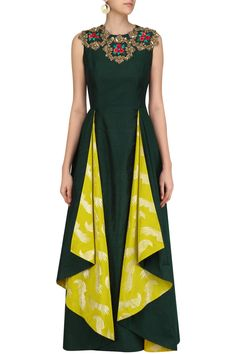 Bottle green and Lime yellow floral layered tunic available only at Pernias Pop Up Shop. #Rishi&Soujit#ethnic#shopnow #ppus #happyshopping