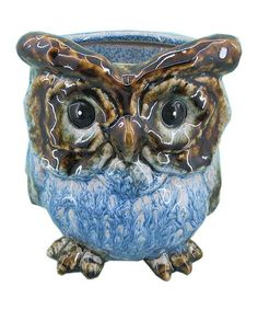 Take a look at this Blue Short Ceramic Owl Vase by Home Essentials and Beyond on #zulily today!