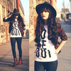 Hat, Flannel, Brashy Couture You Me Oui Shirt, Levi's Jeans, Dolce Vita Boots