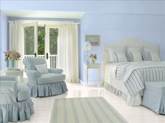 Better Homes and Gardens - My Color Finder Sherwin-Williams paint colors: Wondrous Blue SW 6807 and Zurich White SW7626