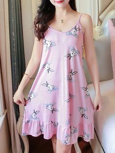 Rabbit Print Ruffle Hem Night Dress With Eye MaskFor Women-romwe Sewing Clothes Women, Dress Clothes For Women, Summer Clothes, Night Dress For Women, Summer Dresses For Women, Night Gown Dress, Rajputi Dress, Indian Gowns Dresses, Night Suit