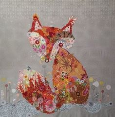 Freida Fox - Fusible Collage Pattern by Laura Heine Laura Heine, Fox Quilt, House Quilt Patterns, Fox Crafts, Batik Art, Quilted Gifts, Animal Quilts, Lap Quilts, Fox Pattern