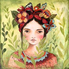 Frida geïnspireerde kunst print van claudiatremblay op Etsy