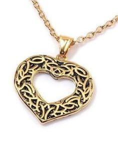 Heart Pendant 18 K yellow gold and Stainless Steel with chain USA SELLER #Unbranded #Pendant