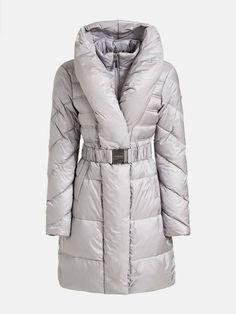 LONG BELTED-WAIST PADDED JACKET | GUESS.eu Padded Jacket, Winter Jackets, Belt, Long Sleeve, How To Wear, Fashion, Winter Coats, Belts, Moda