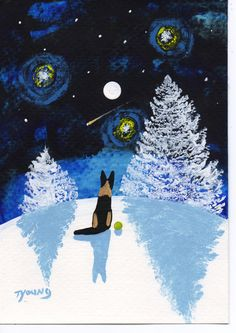 German Shepherd Dog Winter abstract original Folk art painting by Todd Young -- falling star