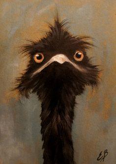 Elizabeth Barrett Original Oil Painting EMU via Etsy