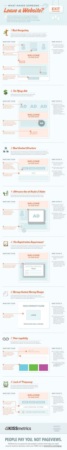 What makes someone leave a website? Some tried and true principles #infographics