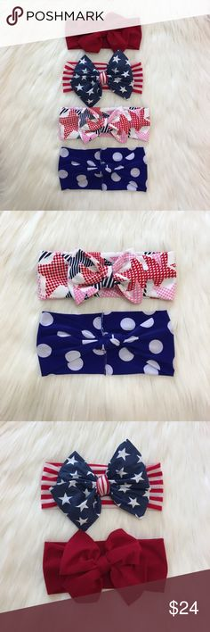 🇺🇸Festive 4th of July Hair Accessories! 🇺🇸Festive 4th of July Headbands!                                       🇺🇸Sizes, Prices, & Styles: NB-2T=$6 each! Sizes 3T&up = $7! Styles: knotted, knotted w/ rabbit ears, rose head wrap, messy bow, & plain band & bow!                             🇺🇸Monthly Bundle Deal: 10% off bundles of 3+ headbands!                                                                   🇺🇸Please comment w/ headbands needed & size(s) & style(s) they're needed in…