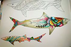 My new Lost Ocean Coloring book sharks