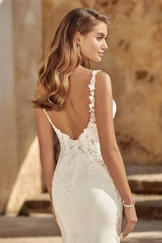 Sophia Tolli 2020 Collection - The Bridal Lounge Crepe Wedding Dress, Fit And Flare Wedding Dress, Luxury Wedding Dress, Dream Wedding Dresses, Designer Wedding Dresses, Bridal Dresses, Slinky Wedding Dress, Floral Wedding, Wedding Gowns
