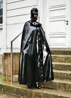 Image 24 Another example of a sort of dominatrix/fetish style Pvc Leggings, Rubber Dress, Hood Girls, Latex Wear, Long Leather Coat, Latex Costumes, Rain Cape, Latex Hood, Rubber Raincoats