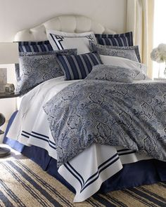 Legacy Home Blue Paddock Shawl Bed Linens Navy Stripe European Sham - traditional - bed pillows - - by Horchow