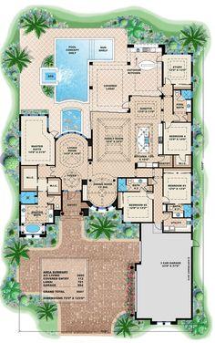 Mediterranean Style House Plan - 4 Beds 4 Baths 5607 Sq/Ft Plan #27-454 Floor Plan - Main Floor Plan - Houseplans.com