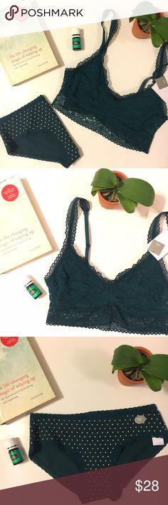 Gap body deep teal bra and panty set. Gap body xs deep teal lace pullover bralette and matching polka dot panty. GAP Intimates & Sleepwear