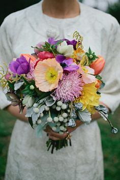 Colorful Wedding Bouquet Featuring: Poppies, Anemones, Dahlias, Chrysanthemums, Tulips, Silver Brunia, Additional Coordinating Florals & Foliage