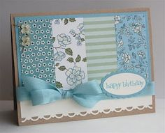 Stamp: Party This Way  Ink: Baja Breeze  Paper: Springtime Vintage dsp, Crumb Cake, Very Vanilla, Baja Breeze  Accessories: Oval, Scallop Oval, Scallop Trim Border & Itty Bitty Punches Pack, linen thread, Bitty Buttons, Baja Breeze Seam Binding