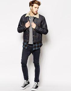 buy online fd8d1 5029a Image 4 of Wrangler Denim Jacket Pleated Borg Fully Lined Dry Denim Asos