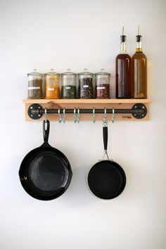 Wood and PIpes Wallmount Pots Rack by Tuyauxandco on Etsy