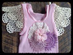 Shabby baby doily singlet handmade by creative Mum!